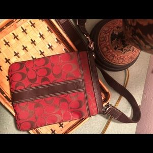 Coach Bags - Brown/Red Coach Cloth & Leather Crossbody Bag